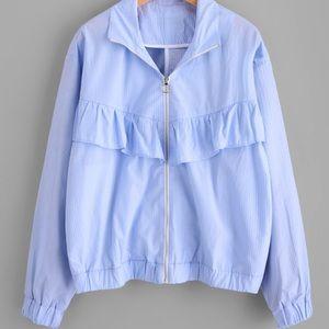 Ruffle Pinstripe Jacket